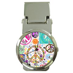Peace Collage Money Clip With Watch