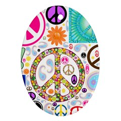 Peace Collage Oval Ornament (two Sides)