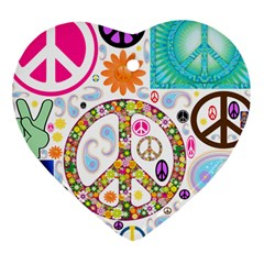 Peace Collage Heart Ornament (Two Sides)
