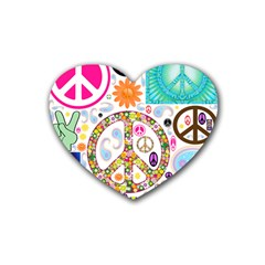Peace Collage Drink Coasters 4 Pack (Heart)