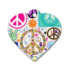 Peace Collage Dog Tag Heart (One Sided)
