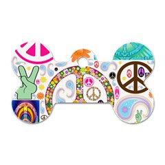 Peace Collage Dog Tag Bone (Two Sided)