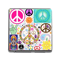 Peace Collage Memory Card Reader With Storage (square)