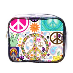 Peace Collage Mini Travel Toiletry Bag (one Side)