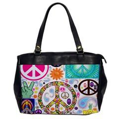 Peace Collage Oversize Office Handbag (One Side)