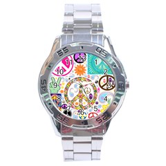 Peace Collage Stainless Steel Watch