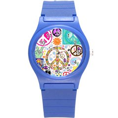 Peace Collage Plastic Sport Watch (small)