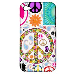 Peace Collage Apple Iphone 4/4s Hardshell Case (pc+silicone)