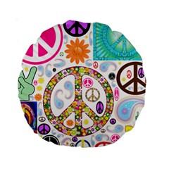 Peace Collage 15  Premium Round Cushion