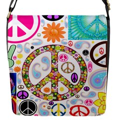 Peace Collage Flap Closure Messenger Bag (Small)