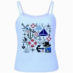Nautical Collage Baby Blue Spaghetti Tank