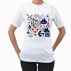 Nautical Collage Women s Two-sided T-shirt (White)