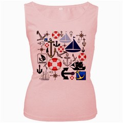 Nautical Collage Women s Tank Top (pink)