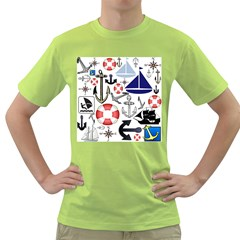 Nautical Collage Men s T Shirt (green)