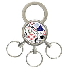 Nautical Collage 3 Ring Key Chain