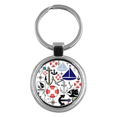 Nautical Collage Key Chain (Round)