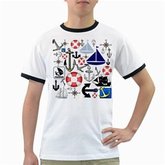 Nautical Collage Men s Ringer T Shirt