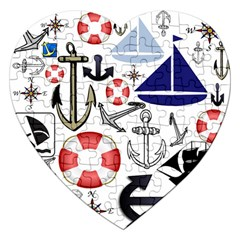 Nautical Collage Jigsaw Puzzle (Heart)