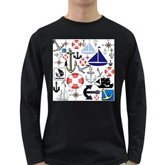 Nautical Collage Men s Long Sleeve T-shirt (Dark Colored)