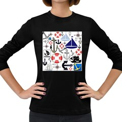 Nautical Collage Women s Long Sleeve T-shirt (Dark Colored)