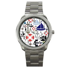 Nautical Collage Sport Metal Watch