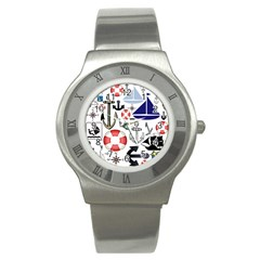 Nautical Collage Stainless Steel Watch (slim)