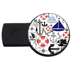 Nautical Collage 4GB USB Flash Drive (Round)