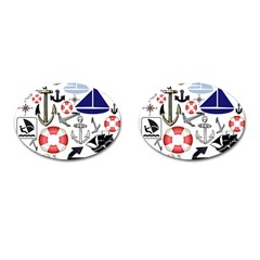 Nautical Collage Cufflinks (Oval)