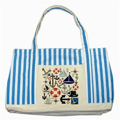 Nautical Collage Blue Striped Tote Bag