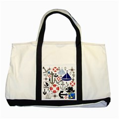 Nautical Collage Two Toned Tote Bag