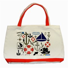 Nautical Collage Classic Tote Bag (Red)