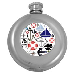 Nautical Collage Hip Flask (round)