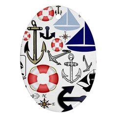 Nautical Collage Oval Ornament (Two Sides)