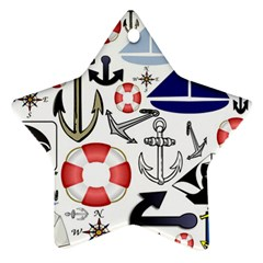 Nautical Collage Star Ornament (Two Sides)