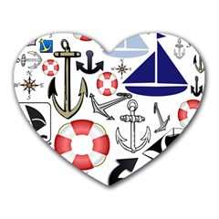 Nautical Collage Mouse Pad (heart)
