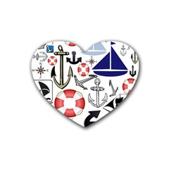 Nautical Collage Drink Coasters 4 Pack (Heart)