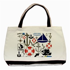 Nautical Collage Twin-sided Black Tote Bag
