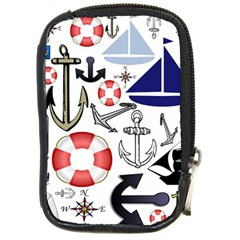 Nautical Collage Compact Camera Leather Case