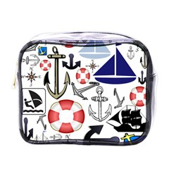 Nautical Collage Mini Travel Toiletry Bag (One Side)