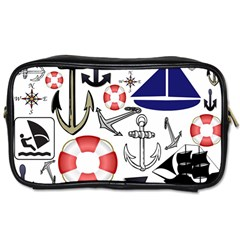 Nautical Collage Travel Toiletry Bag (one Side)