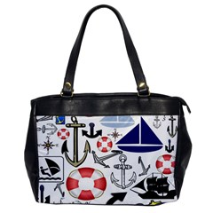 Nautical Collage Oversize Office Handbag (One Side)
