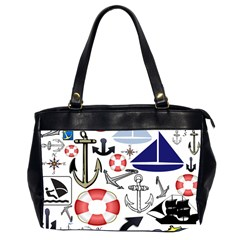 Nautical Collage Oversize Office Handbag (Two Sides)