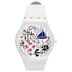 Nautical Collage Plastic Sport Watch (Medium)