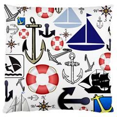 Nautical Collage Large Cushion Case (Single Sided)