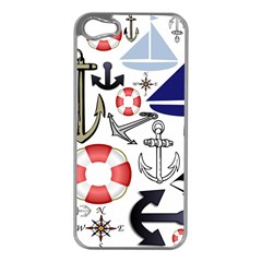Nautical Collage Apple iPhone 5 Case (Silver)