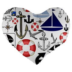 Nautical Collage 19  Premium Heart Shape Cushion