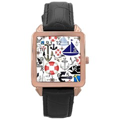 Nautical Collage Rose Gold Leather Watch