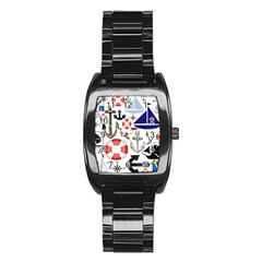 Nautical Collage Stainless Steel Barrel Watch