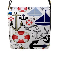 Nautical Collage Flap Closure Messenger Bag (large)