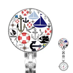 Nautical Collage Stainless Steel Nurses Watch